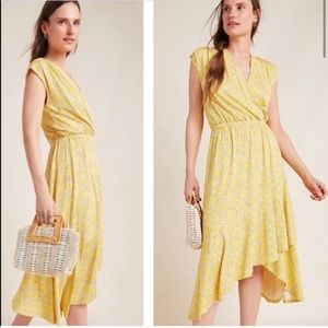 Anthropologie Maeve Fete Midi Dress yellow motif